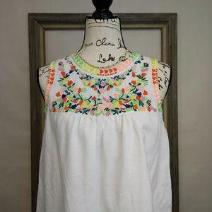 J Crew Factory Folk Embroidery Linen Blend Top 8